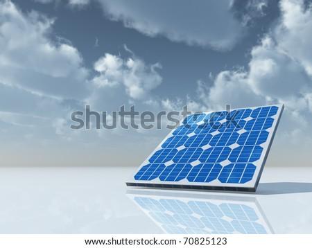 solar panel under cloudy sky - 3d illustration
