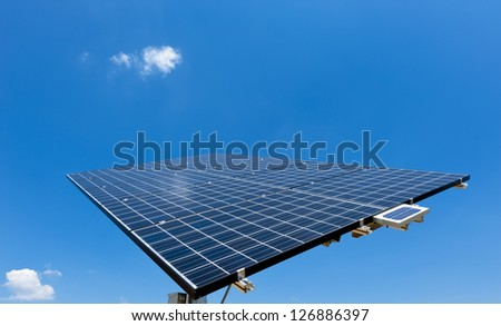 Solar Panel with blue Sky and some small clouds