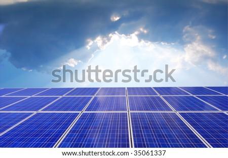 Solar panel with bright sunlight