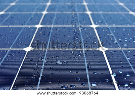 Solar panel with drops of water
