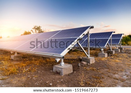 Solar panels. Alternative energy source. photovoltaic. Electricity. Ecological electricity generator.