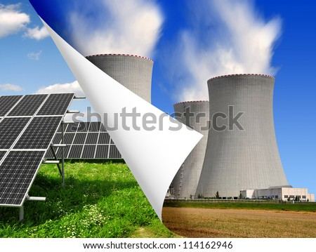 Solar panels and nuclear power plant