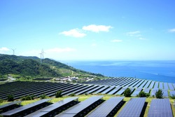 Solar panels and wind generators in Large Photovoltaic power station (solar park) / Renewable energy Sustainable energy / Solar Power Plant