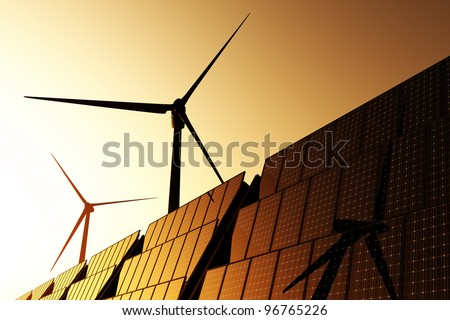 Solar Panels and Wind Turbines in Beautiful Sunset / Sunrise Energy Concept 3D render