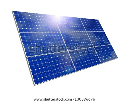 Solar panels, blue sky background. Efficient use of natural resources. Environmental pure energy. 3d rendering, illustration of isolation on skybackground