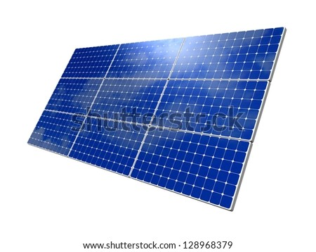 Solar panels, blue sky background. Solar panels, blue sky background. Efficient use of natural resources. Environmental pure energy. 3d rendering, illustration of isolation on a white background