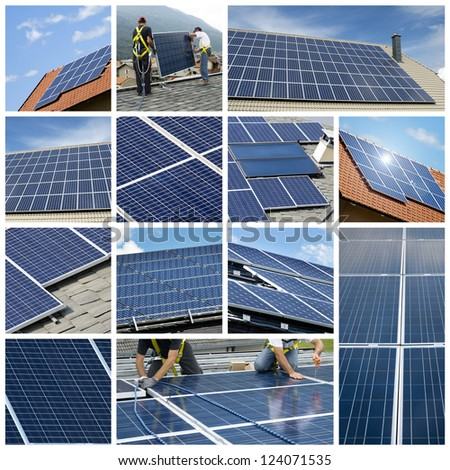 Solar Panels Collage Stock Photo 124071535 : Shutterstock