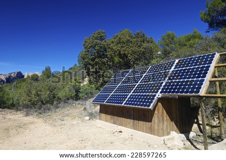 Solar panels for production of renewable electrical energy in Huesca province, Aragon, Spain