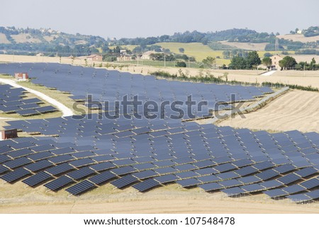 Solar panels for renewable energy on the hill (Marche - Italy)