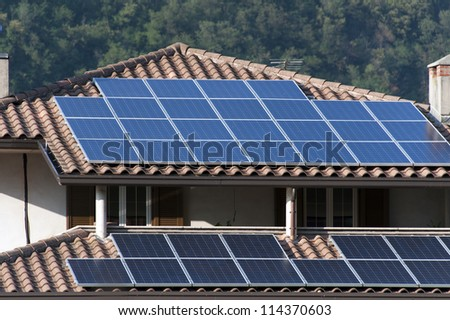 solar panels in a house roof