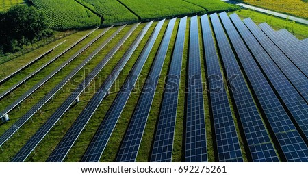 Solar panels in aerial view #692275261