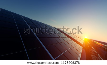 Solar Panels in Dim Light 3d rendering