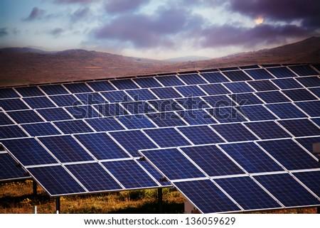 solar panels in dusk time- HDR technique