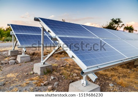 Solar panels in the desert. Alternative energy source. photovoltaic. Electricity. Ecological electricity generator.