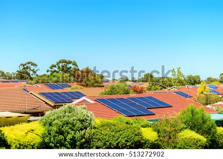 Solar panels installed on the roof in South Australia #513272902