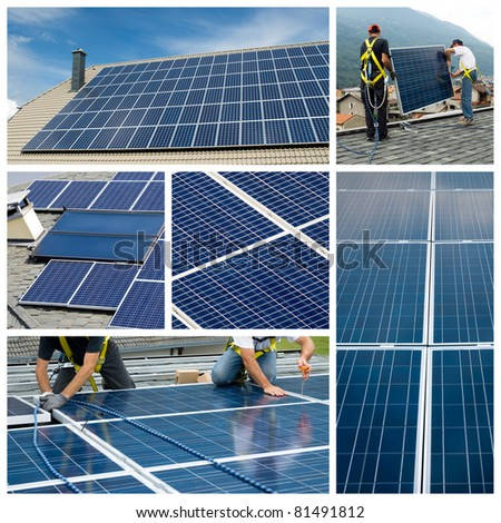 Solar panels installing - stock photo