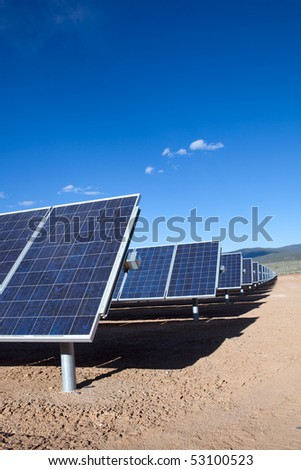 Solar panels - Large photovoltaic system at the UNM-Taos Klauer Campus, NM - stock photo
