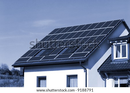 Solar panels on a country-side house