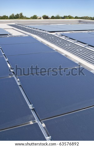 Solar panels on a flat rooftop