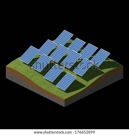 Solar panels on a grass field on black background