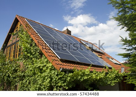 solar panels on a roof of a home