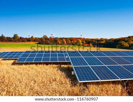 Solar panels on Autumn field with windmills on the horizon