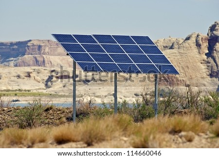 Solar Panels on Backyard. Arizona, USA. Alternative Energy Photography Collection.