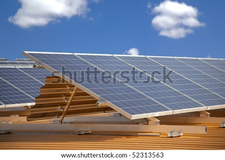 solar panels on roof with shallow depth of field