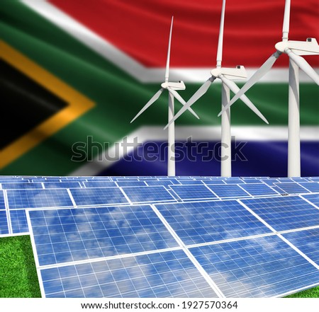 Solar panels on the background with the flag of South Africa and Wind Turbine Photo stock ©