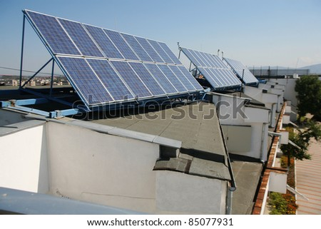 Solar panels on the roof a building