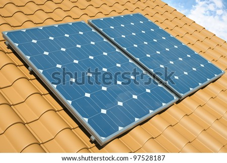 Solar panels on the roof. 3D render.