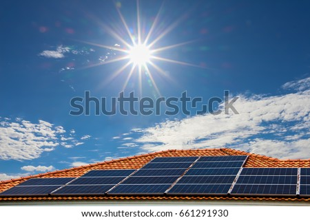 Solar panels on the roof,energy of natural .