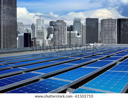 solar panels on the roof of modern skyscraper