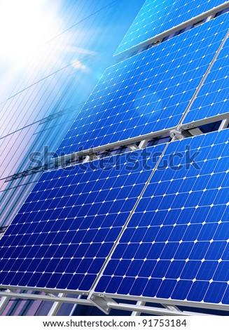 Solar panels on the roof of modern skyscraper