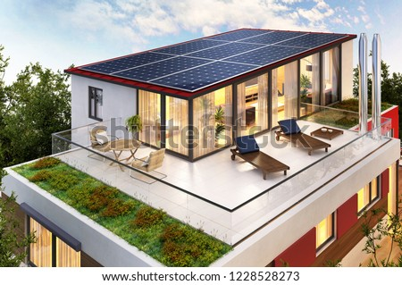 Solar panels on the roof of the house. 3D rendering.
