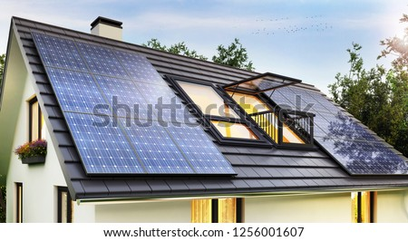 Solar panels on the roof of the modern house. 3D rendering Photo stock ©