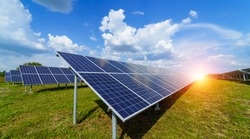 Solar panels on the sky background. Solar power plant. Blue solar panels. Alternative source of electricity. Solar farm.