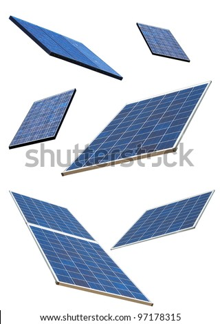 Solar panels on white