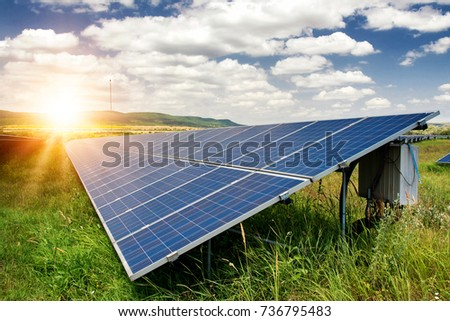 Solar panels, photovoltaic - alternative electricity source - selective focus, copy space #736795483