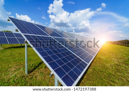 Solar panels. Power station. Blue solar panels. Alternative source of electricity. Solar farm. The source of ecological renewable energy.
