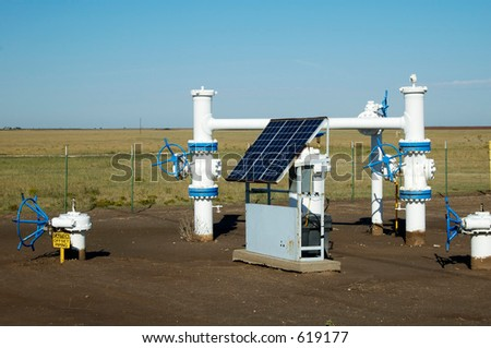 Solar panels provide the electric power for the monitoring equipment on a pipeline in the texas panhandle.