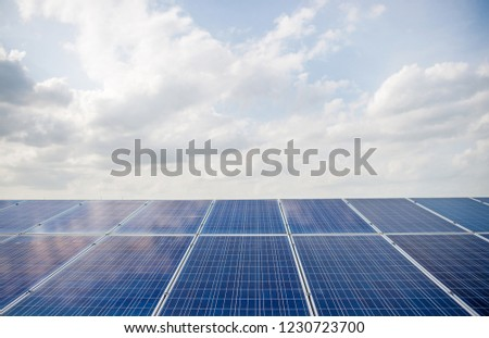 Solar panels, solar panels, alternative power supply - selected focus, copy space Natural energy #1230723700