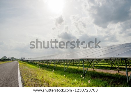 Solar panels, solar panels, alternative power supply - selected focus, copy space Natural energy #1230723703