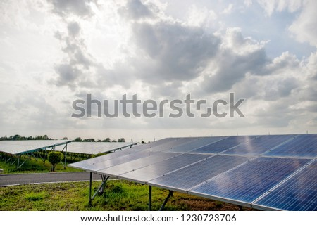 Solar panels, solar panels, alternative power supply - selected focus, copy space Natural energy #1230723706
