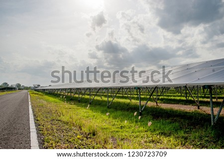 Solar panels, solar panels, alternative power supply - selected focus, copy space Natural energy #1230723709