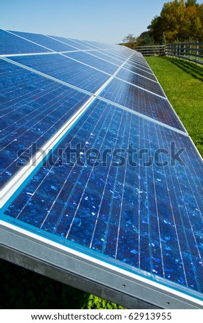 Solar panels used for energy on a farm