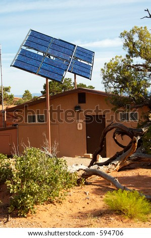 Solar panels used in the desert to provide power for a toilet facility in Arches National Park.