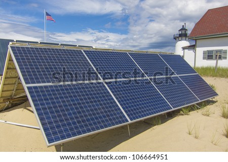 Solar panels used to power a light house in Provincetown, MA USA