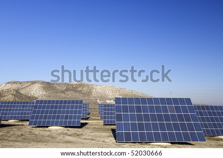 solar panels with blue and clear sky