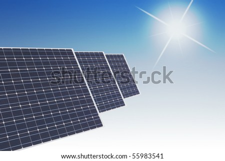 Solar panels with smooth blue background with a sun